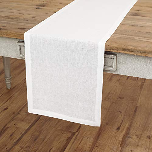 Solino Home Linen Table Runner - 14 x 72 inch, Crafted from 100% Pure European Flax - White, Athena by Solino Home (Image #2)