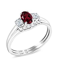 Gem Stone King 0.82 Ct Oval Red Rhodolite Garnet White Created Sapphire 10K White Gold Lab Grown Diamond Engagement Ring Set