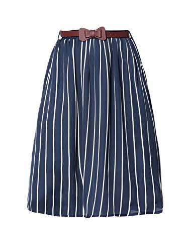 Allegra K Women's Striped Button Front Elastic Back Waist A-Line Midi Skirt S Blue
