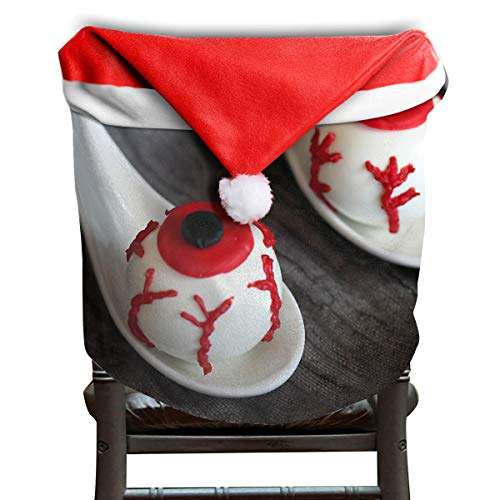 (EDYE Halloween Eyeball Bloody Fake Cake Christmas Xmas Themed Dinning Seat Chair Cap Hat Covers Ornaments for Backers Slipcovers Wraps Coverings Decorations Protector)