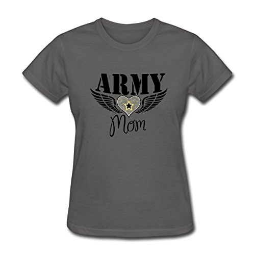 Spreadshirt Army Mom Winged Heart Women's T-Shirt, XL, Charcoal (Heart T-shirt Winged)