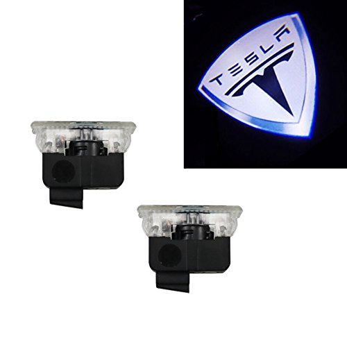 Grolish 2Pcs Car Door Logo Projector Light Symbol Welcome Lamp Kit for Tesla