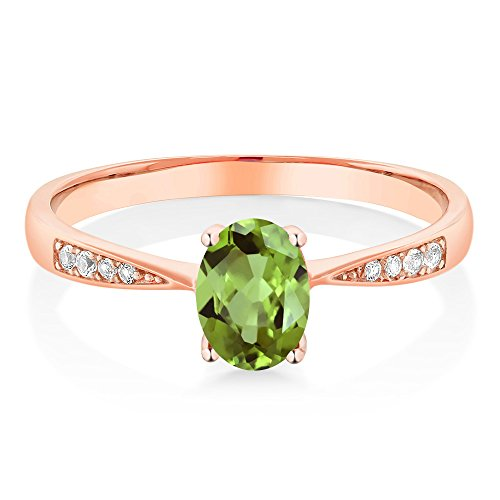 10K Rose Gold Diamond Ring with 0.86 Ct Oval Green Peridot