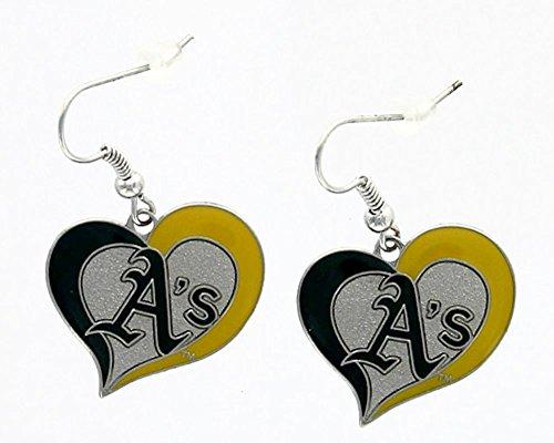 aminco MLB Oakland Athletic's Team Logo Swirl Heart Earring Sports Fan Gift Multi-Color One ()