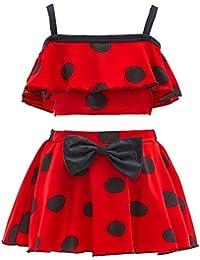 Lito Angels Girls Polka Dots Swimsuit Bathing Suit Poolside Swimwear Tankini Two Piece Set Size 8/10