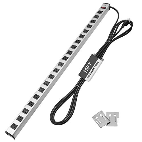 BESTTEN 20 Wide-Spaced Outlet Heavy Duty Metal Power Strip with 15ft Ultra Long Extension Cord, 15A/125V/1875W, Overload Protective Switch, ETL Listed, Silver