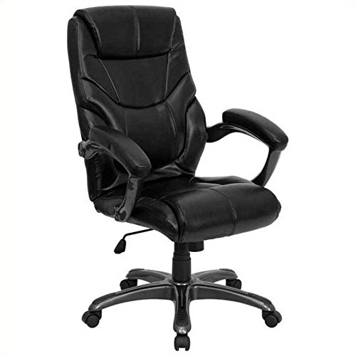 - Flash Furniture High Back Black Leather Overstuffed Executive Swivel Chair with Arms