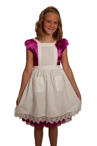 Kitchen Costume Maid Victorian (Deluxe Girls Lace Victorian Maid Costume Kids Full Apron Ecru (Off-white/beige) with Pockets (Ages)
