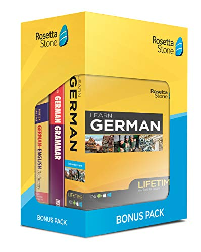 Rosetta Stone Learn German Bonus Pack Bundle| Lifetime Online Access + Grammar Guide + Dictionary Book Set| PC/Mac…
