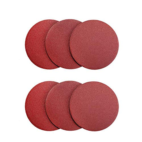 Denveo Dry Sanding Disc 60/80/120/180/240/320 Grit 6 Inch and Sandpaper Assortment, Hook and Loop System Red Paint and Steel Sanding for Random Orbital Sander, Pack of 60 (No holes) by Denveo