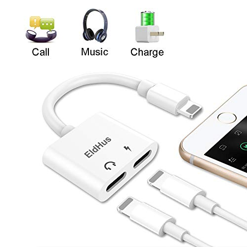 EldHus 2 in 1 Splitter Adapter and Charge, Dual Ports Aux Headphone Jack Adapter for IP XS/XR/XS Max, IP 7/8/X/7 Plus/8 Plus