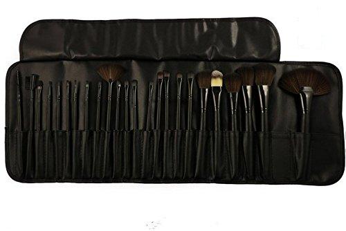 KOLIGHT® 24pcs Top Professional laine cosmétiques maquillage pinceau Set Kit brosses & outils composent Case (Black)