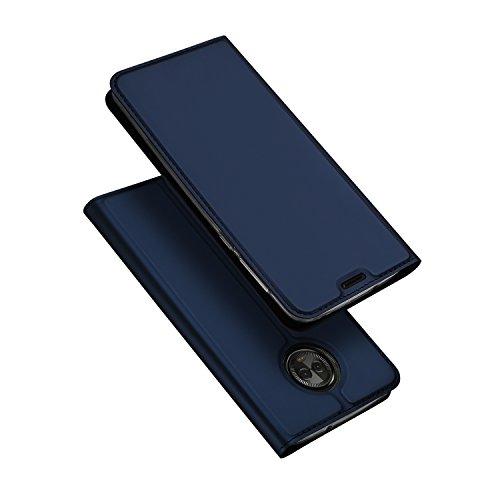 Moto G6 Case, DUX DUCIS Ultra Slim Layered Dandy [Kickstand] [1 Card Slot] [Magnetic Closure] TPU Bumper, Full Body Protection Flip Folio Leather Cover Case for Motorola Moto G6 (Deep Blue)