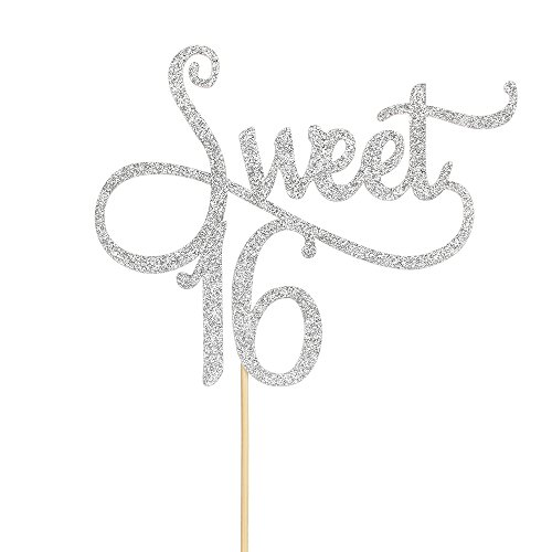 Sliver Glitter Sweet 16 Cake Topper -16th Birthday Cake Topper - Sweet Sixteen Party Themes Decoration Supplies