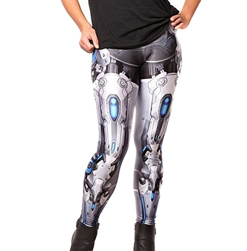 Mosszra Robotic Armor Digital Print Stretch Pants Tights Leggings -