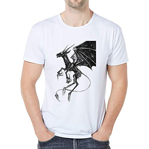 Yucode Summer Men Bat Pattern Casual Fashion Round Neck Short-Sleeved Modal Cotton T-Shirt Top