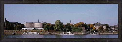 Tour Boat In The River, Rhine River, Bonn, Germany by Panoramic Images Framed Art Print Wall Picture, Espresso Brown Frame, 38 x 14 inches (Framed River Rhine)