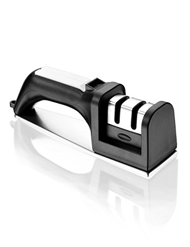 Nicekitchen Knife Sharpener Kitchen for Straight and Serrated Knives 2 Stage Manual Chef, with Diomand Abrasives, Black