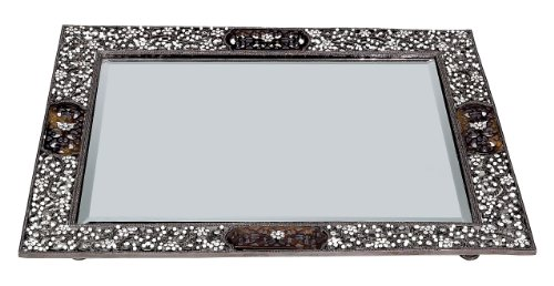 Olivia Riegel Queen Anne's Lace Beveled Mirror Tray by Olivia Riegel