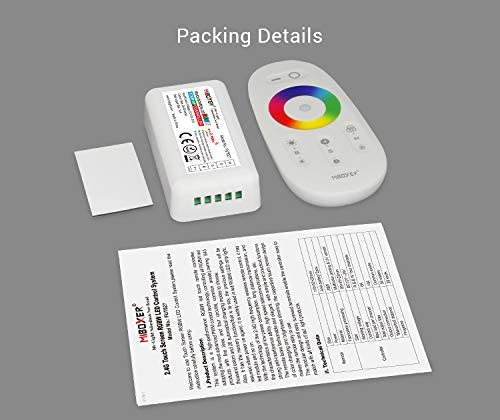 Dim The Lights and Turn on or Off The Lights with The Touch Remote. Lighthouse FUT027 2.4G 4-Zone RGBW Controller with Touch RF RGBW Remote Control DC12-24V Easily Change The Color