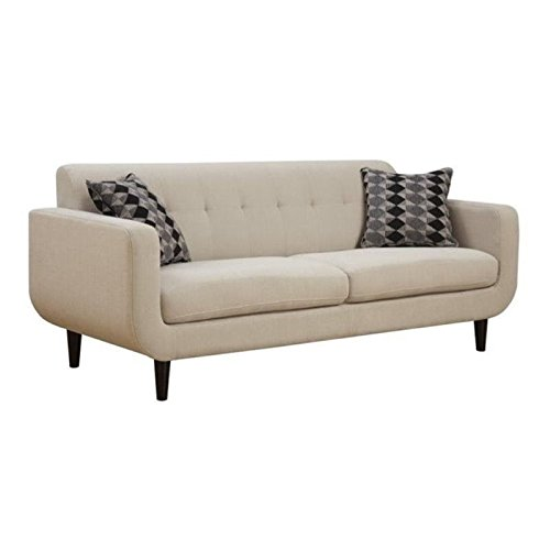 Bowery Hill Upholstered Modern Sofa in Ivory