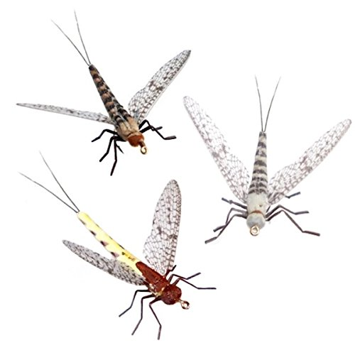 (Synthfly Lifelike Mayfly Pack of 8 Mayflies for Fly Fishing (Gray & Brown Drake in sizes 10, 12, 14 and Danica in sizes 10, 12))