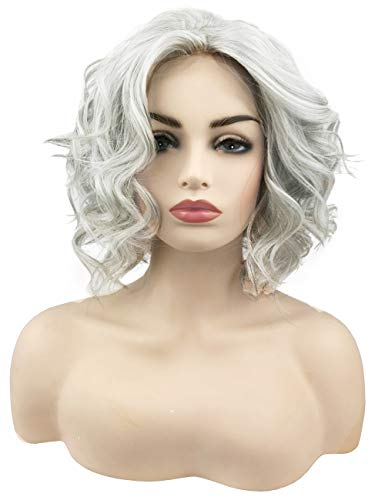 TopWigy Short Bob Grey Wavy Lace Front Wigs Silver Grey Synthetic Heat Resistant Wigs Ombre Grey Middle Part Big Loose Wavy Frontal Wig Half-hand Tied Realistic Wig (Grey 14