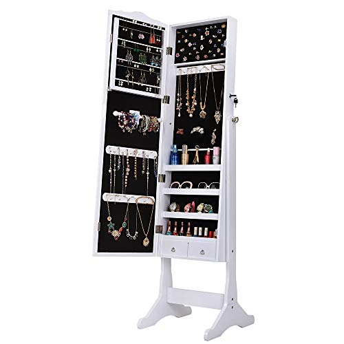 Mefeir Retro PVC Grain Coating Jewelry Mirror Cabinet Armoire, Standing Storage Organizer, Whole Body Dressing Mirror with Storage Shelves, Hooks and Grooves for Bracelet, Necklace, Rings and Earrings