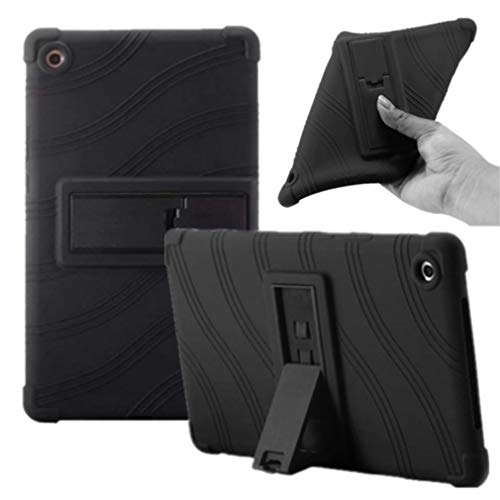Huawei MediaPad M5 8.4 Case - Soft Silicon [Kids Friendly] Light Weight [Anti Slip] Shock ProofProtective Stand Cover for Huawei MediaPad M5 8.4 SHT-W09 SHT-AL09 8.4 inch Tablet (Black)