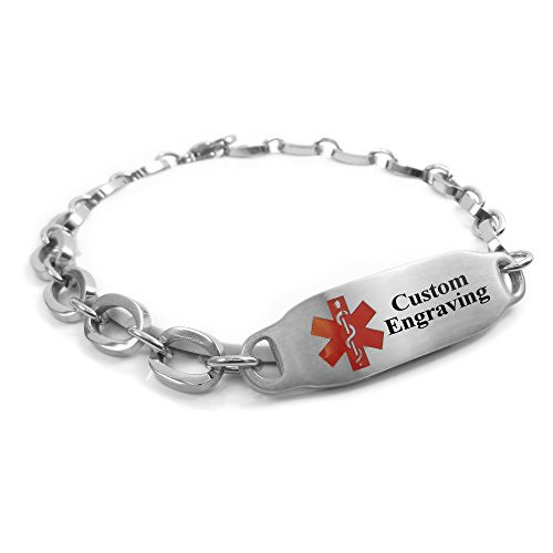MyIDDr Free Engraving Medical Alert Bracelet - Steel Oval Link 7mm - Red by My Identity Doctor