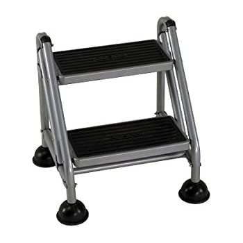 Cosco 2 Step Rolling Step Ladder Grey Stepladders