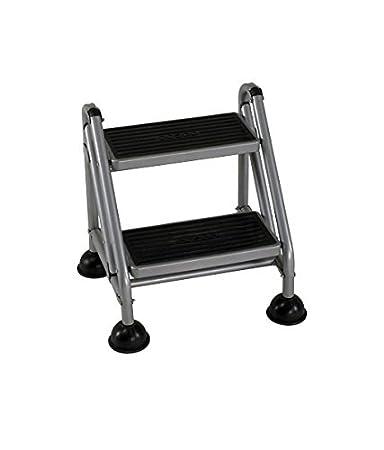2 step ladder aluminium bathla rolling grey platform