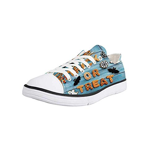 Canvas Sneaker Low Top Shoes,Halloween,Fresh Trick or Treat Gingerbread Cookies on Blue Wooden Table Spider Web Ghost Decorative Women 10/Man 7 -