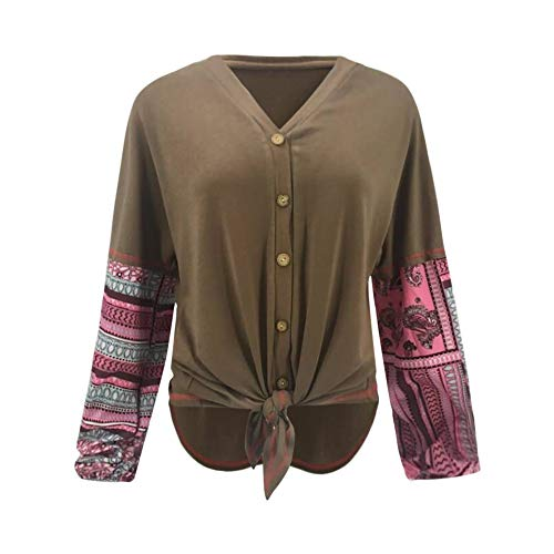 MuSheng col Chemise Henry Femme Rond V Shirt Patchwork Chemise col T Brown Bouton CrtgqUrw