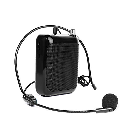 Voice Amplifier MAONO C01 Lightweight Cardioid Rechargeable Wired Microphone with Waistband and LED Display, Support FM/MP3/TF card for Coaches, Tour Guides, Kindergartener, Promotion(Black)