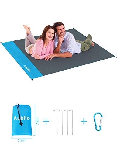 Aubllo Beach Blanket Camping Mat Travel- Sand Proof Waterproof Pocket Blanket(Size 55x 70) Vacation Accessories Portable Durable Mat for Outdoor Family Picnic Hiking Festival with 4 Anchor Stakes