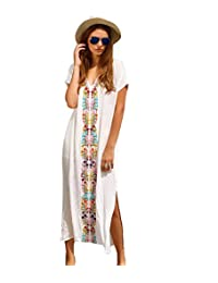 Women Embroidery Loose Boheme Slit Kaftans Maxi Beach Dress Bikini Cover Up