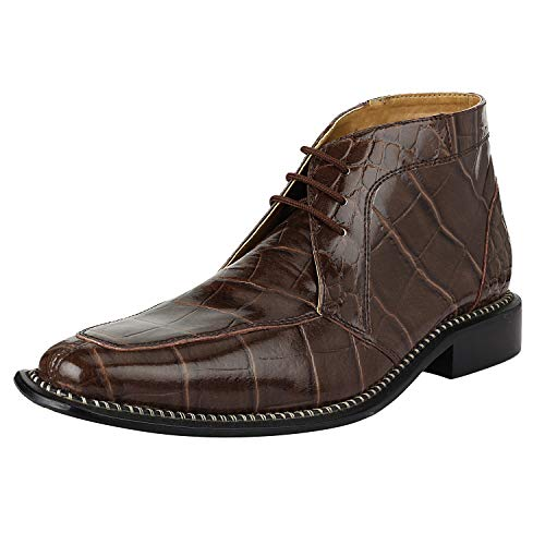 Liberty Men's Crocodile Print Ankle High Top PU Leather Lace Up Dress Shoes Brown