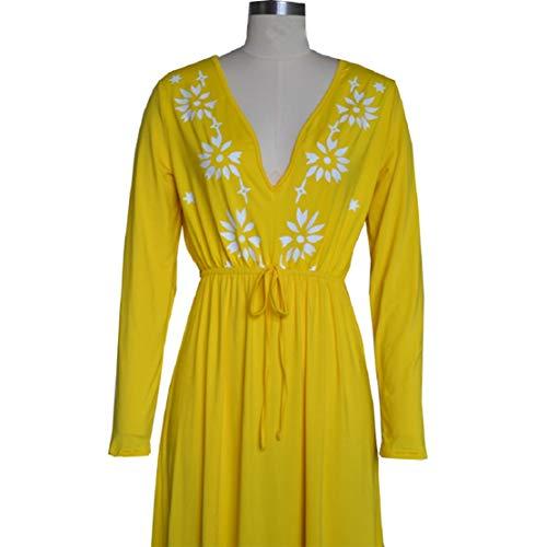 Women Print Long Dress Summer Beach Dress V Neck High Waist Dress Floral Printed Maxi Dress by Lowprofile Yellow by Lowprofile Dress (Image #5)