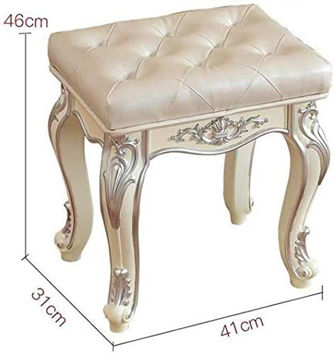 SNWG Tabouret de Maquillage, Continental Sculpté Robe Place Tabouret Up Bedroom Furniture Tabouret Chaussures H46 X W31 X L41cm 116 924