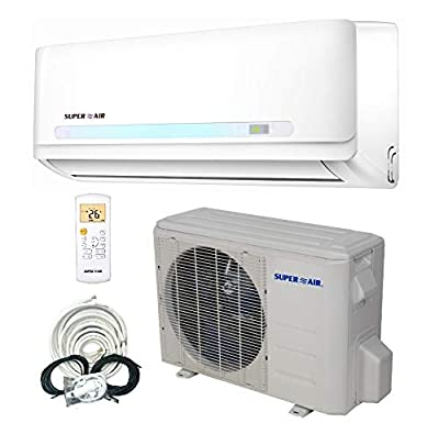 Superair 12000 BTU 19 SEER (1 TON) Ductless Mini Split System Inverter Air Conditioner with Heat Pump 110V - Full Set