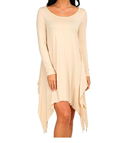 Women's Coolred Dress Long Pure Party Apricot Sleeve Baggy Irregular Classic Color SwqdT4