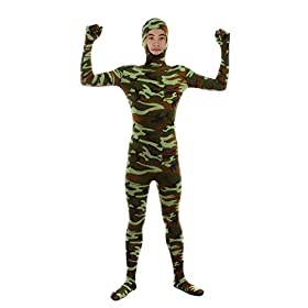Sheface Kids Spandex Green Camouflage Face Out Zentai Bodysuit Costumes Kids Small P17