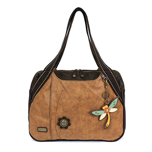 - Chala Large Bowling Tote Bag with coin purse Brown (Dragonfly)