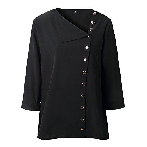 Chemise Unie Ray ShallGood Noir Couleur Et Classique Chemisier Blouse Manche Tunique Shirt Mousseline Top Col A Femme Up Haut Button Top Longue Chic V q0Trg0YU