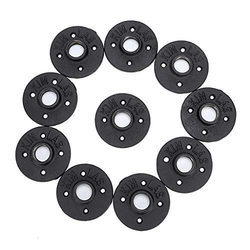 SUMNACON Industrial Pipe Floor Flange Fittings 3/4'', 10 Pack Black Iron Malleable Threaded Pipe Plumber Fitting For DIY Furniture Decor - Vintage Pipe Shelf Brackets/Paper Holder/Coat Rack