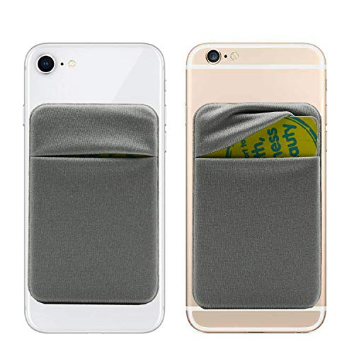 3M Adhesive Purse,6 Cards Secure Holder Pocket Wallet Stick on Phone/Tablets-Cards Sleeve Pouch fits iPhone XS Max/XR/6S/7/8 Plus,Galaxy S8/Note 9/J7/J3,Honor V10/Mate 9 Pro/LG G5(Grey)