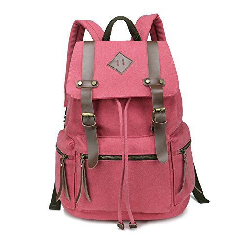BeautyWill Vintage Canvas Backpack Rucksack Unisex for School Travel Hiking