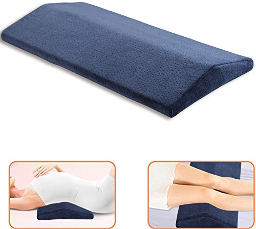 oam Sleeping Pillow for Lower Back Pain,Multifunctional Lumbar Support Cushion for Hip,Sciatica and Joint Pain Relief,Orthopedic Side Sleeper Bed Pillow (Navy Blue) ()