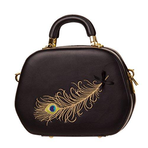 Banned Retro Damen Handtasche Pfauenfeder - No Trace Peacock Feather Rockabilly Henkeltasche